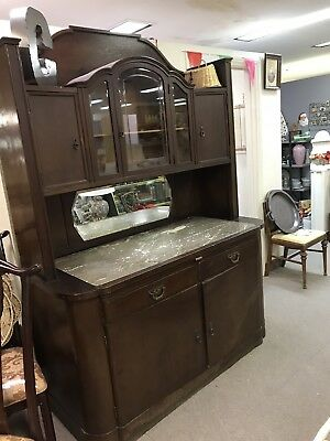 Vintage Victorian Cabninet With Marble Top