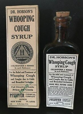 Antique Medicine Bottle:dr. Hobson's Whooping Cough Syrup W/contents, Chloroform