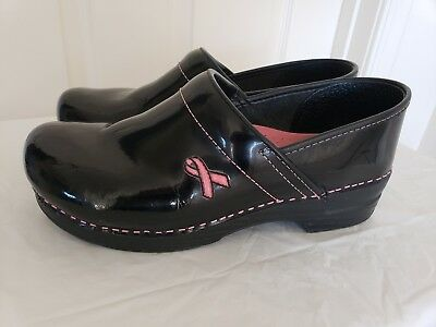 Dansko Women's Clogs Patent Leather Black Breast Cancer Awareness Size 11.5/43