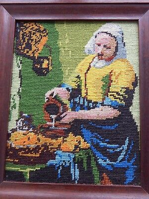 Vintage Completed Wool Tapestry Picture LADY In Solid Wooden FRAME