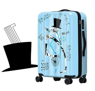 D311 Lock Universal Wheel Blue Geometric Travel Suitcase Luggage 20 Inches W
