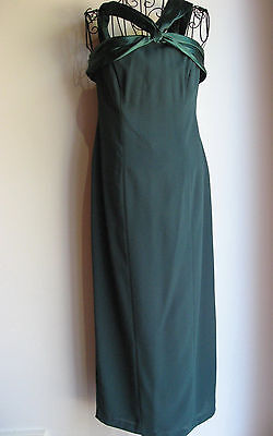 NEW / NEW WITH TAGS AUSTRALIAN MADE DARK GREEN EVENING DRESS - Size 10 RRP $190