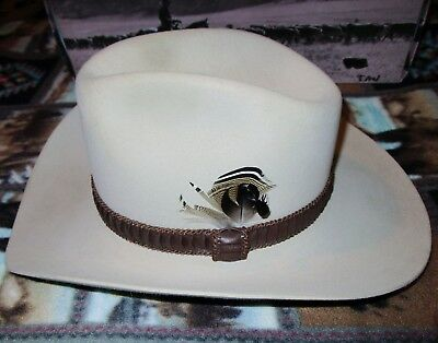 Stetson Cowboy Hat Size 7 Long oval 4X Beaver Light Tan with Box