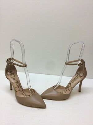 c5603953be31 Sam Edelman  Harlow  Beige Leather Pointy Toe Ankle Strap Heels Women s Size  7.5