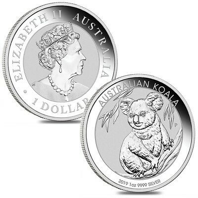 Lot of 2 - 2019 1 oz Silver Australian Koala Perth Mint .9999 Fine BU In Cap