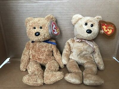 68a15517251 RARE TY FUZZ beanie baby with multiple errors   TY Cashew Bear Lot ...