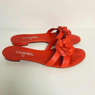 ff5895b9a059b CHANEL RED LEATHER Thong Sandal Flip Flop Quilted Rubber Silver CC ...