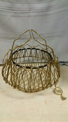 Vintage French Mid Century Modern Collapsible  ~ Folding Wire Egg Basket