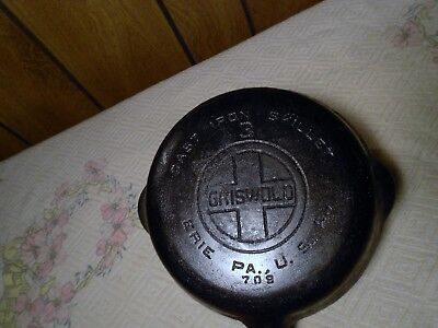 Vintage Griswold No. 3 Cast Iron Skillet with Large Block Logo 709 ERIE.PA. USA