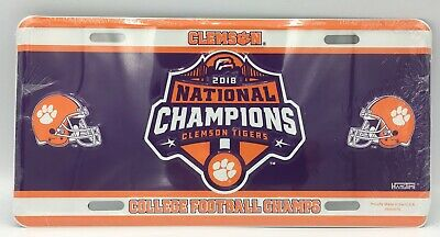 Clemson Tigers 2018 National Champions Car Truck Tag License Plate Football Sign