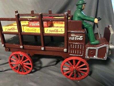 Vintage 1970s Cast Iron Coca Cola Wagon Truck with Driver & Bottle Crates