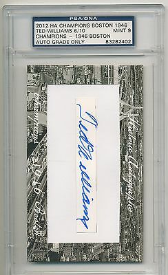 TED WILLIAMS 2012 Historic Autographs Champions CUT AUTO  6/10 RARE RED SOX HOF
