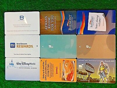 LOT of NINE (9) ALL DIFFERENT *HOTEL ROOM KEY CARDS*