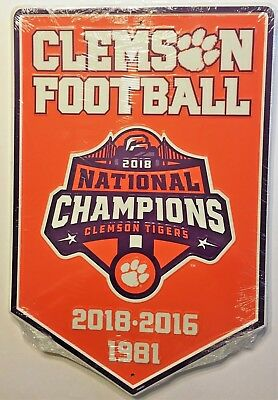 Clemson Tigers 2018 National Champions Banner Football Sign Mancave Sports Room