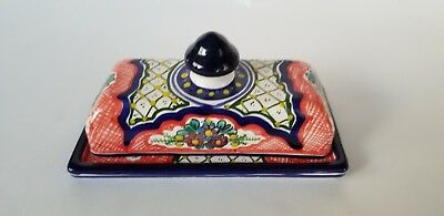 Authentic Traditional Mexican Folk Art Talavera Pottery Butter Dish