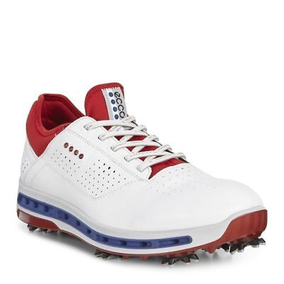 Ecco Mens Golf Cool 18 GTX White/Tomato 44 Euro 10-10.5 US Golf Shoe