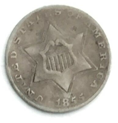 1855 Silver Three Cent Piece Low Mintage - Very Fine Condition