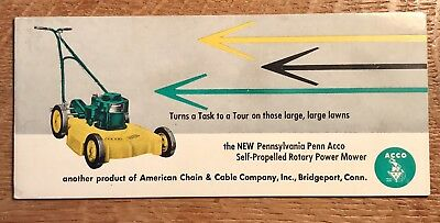 Vintage Pennsylvania Penn Power Mower ACCO Ink Blotter - Great Collectible