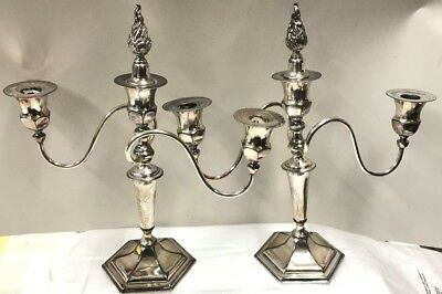 Pair Antique Homan Silverplate Co.candelabras,quadruple Plate #1136 W/snuffers