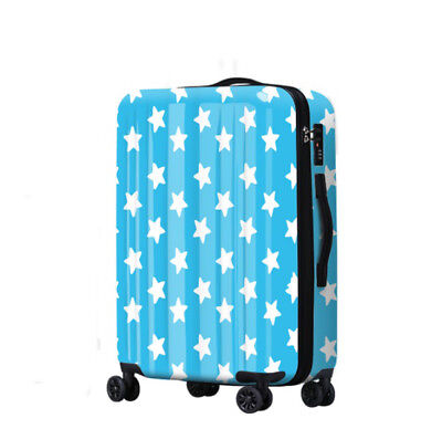 D259 Lock Universal Wheel Blue Stars Pattern Travel Suitcase Luggage 20 Inches W