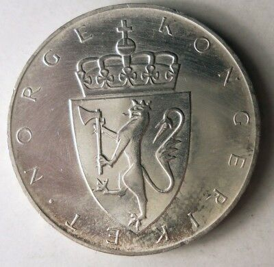 1964 NORWAY 10 KRONER - AU - Rare Date - Key SILVER Coin - Lot #J14