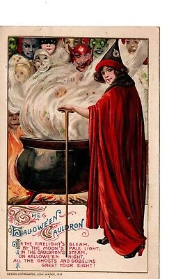 Halloween Postcard ~ Winsch 1912 ~ Jol  Witch Cualdron Devil Ghosts ~ Unreal  H1