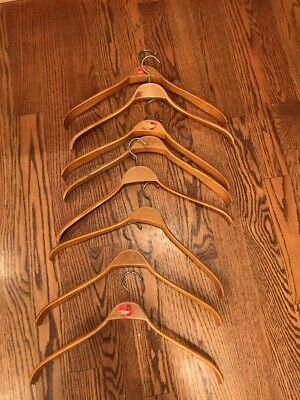 Lot Of 8 Sweden 4a Teo Guys Wooden Wood Hangers (read)