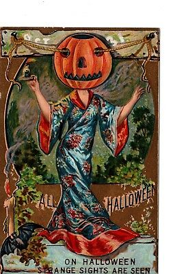 Halloween Postcard ~ Geisha Pumpkin Head ~ Bats ~ Very Weird  ~ H5