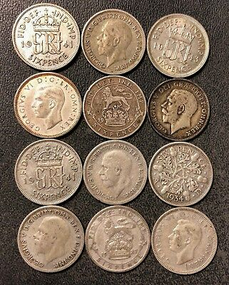 Vintage Great Britain Silver Coin Lot - 6 Pence - 1917-1943 - 12 Coins - Lot J14