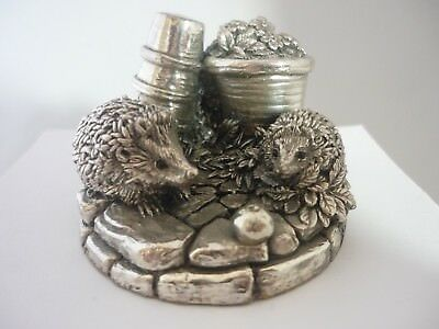 Stunning Vintage Large Pair Of Sterling Silver Hedgehogs By Country Artists