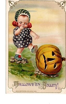 Halloween Postcard ~ Winsch ~ Baby Kicking Pumpkin ~ ~ 1914 ~ H3
