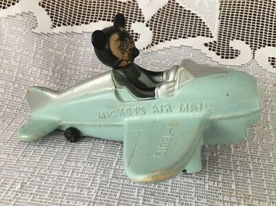 1940's Walt Disney MICKEY MOUSE Blue Airplane, Hard Rubber MICKEY'S AIR MAIL