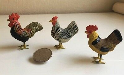Antique German Putz Lead Toy Chickens Barnyard Group Rooster