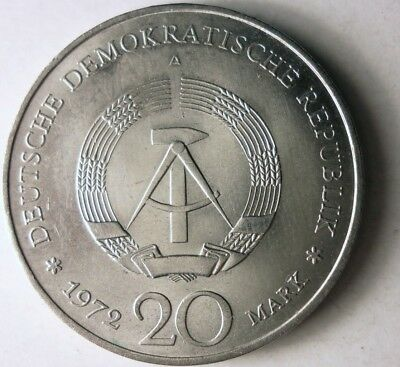 1972 EAST GERMANY 20 MARKS - High Quality High Value Coin - SCARCE - Lot #J14