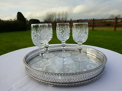 Ehp Vintage Small Heavy Round Sheffield Silver Plated Chased Drinks Serving Tray