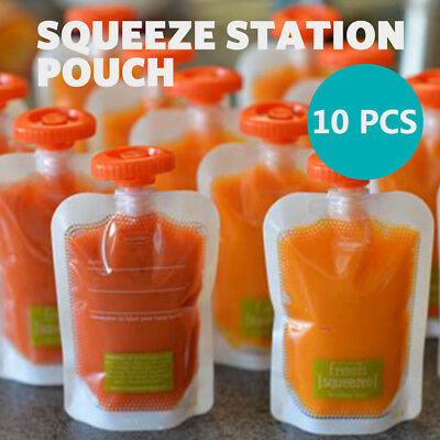 Baby Feeding Food Squeeze Station Pouches Fruit Maker Dispenser Storage DIY Kit