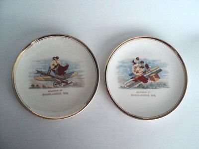 2 Rhinelander Wis Souvenir plates Early Children on airplanes with moon