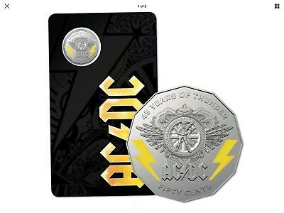 2018 AC/DC - 45 Year of Thunder 50c Coloured Uncirculated Coin