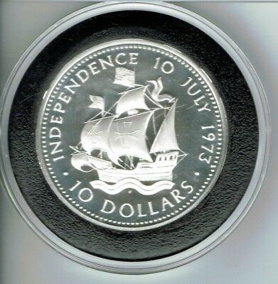 Bahamas 1973 Independence Day 10 Dollars 1.48oz Silver Coin,Proof
