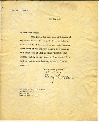 May 1945 Autographed White House Letter Harry S Truman In Regards To Book Gift