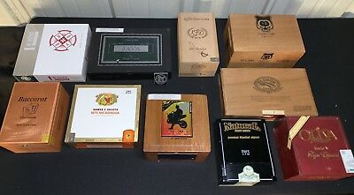 Lot of 10 Premium Empty Wooden Cigar Boxes ~ Mixed Variety ~ w/1 Acid & 1 Padron