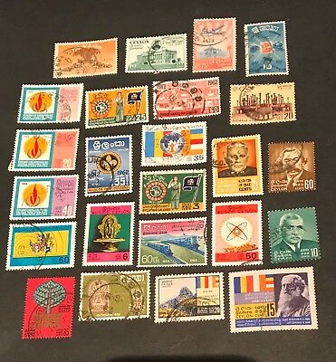 Ceylon postage stamps lot of 24 Old              No