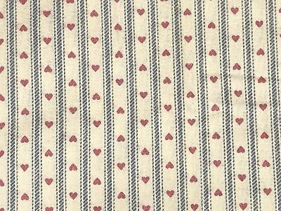1 Yd Vintage Ticking Stripe w/ Hearts Cotton Quilt Fabric BTY by Wamsutta