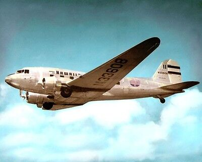 "HAWAIIAN AIRLINES DC-3 HONOLULU HAWAII 1955 8x10"" HAND COLOR TINTED PHOTOGRAPH"