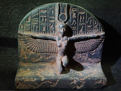 Egyptian Antique Antiquities Winged Isis Goddess of Love Stela 1201-1086 Bc