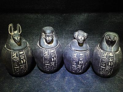 Egyptian Antique Antiquities Sons of Horus 4 Canopic Jars & Lids 1296-1551 Bc