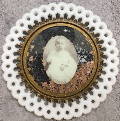Antique Reticulated Milk Glass Portrait Plate Very Rare Baby Picture