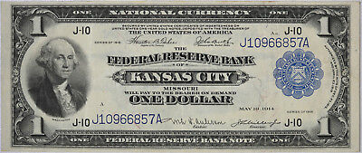 1918 $1 Federal Reserve National Currency Bank Note Kansas City MO Fr. 737