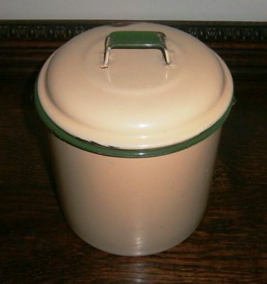 VINTAGE ENAMELWARE POT / BILLY with LID, WIRE HANDLED, YELLOW & GREEN