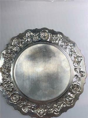 """Stieff Rose Repousse 6"""" Sterling Silver Bread Plate W/ No Monograms Pattern #225"""